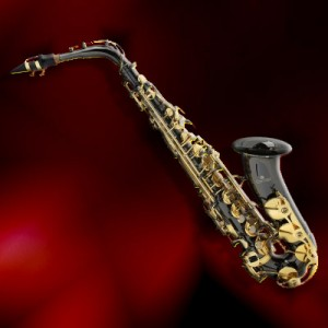 sax black on red bg
