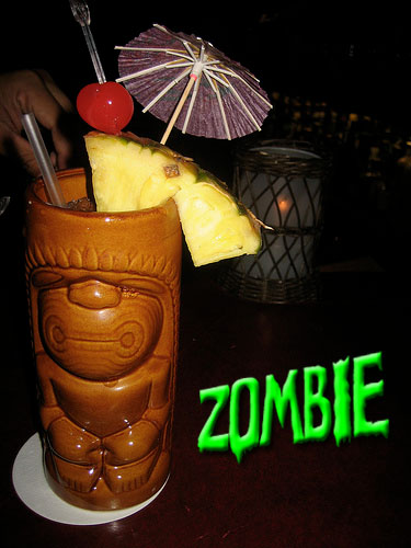 Zombie cocktail at Tiki lounge talk