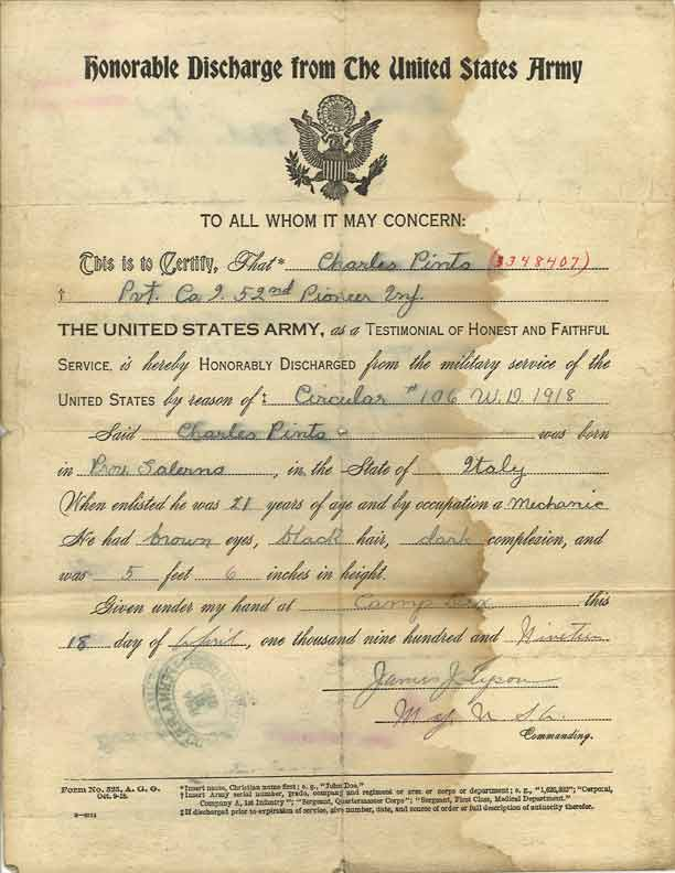 Charles Pinto's Honorable Discharge, 1918