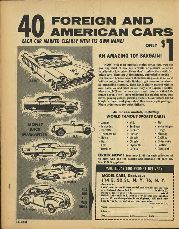 Cool Magazine Ad - 40 Toy Cars for a Buck