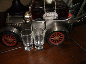 Bar Car Model T Ford Sedan, showing Bourbon medallion and shot glasses.