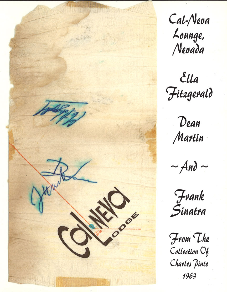 Bar Napkin, 1963, signed by Frank Sinatra, Dean Martin, and Ella Fitzgerald