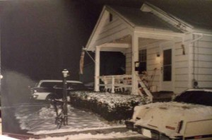 My house in Northfield, 1999. 1956 Buick Century Station Wagon in background, 1979 Lincoln Mark V in foreground.