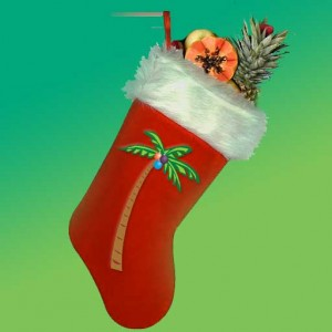 Christmas Tiki Stocking stuffed with Tropical Fruit