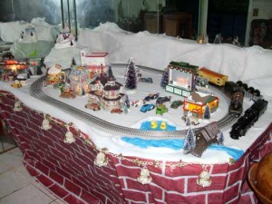 The closest I ever get to snow now is on my Christmas train platform. The trains are my father's Lionels from 1931. There are also a couple of TootsieToy cars that were his as a kid.