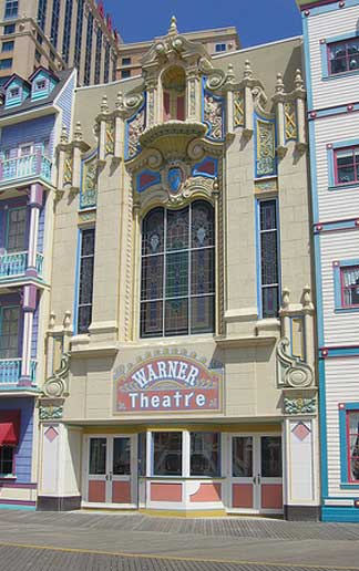 Closeup of the Warner Theater today