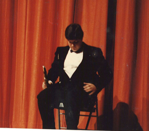 Doing a funny clarinet skit in a high school talent show