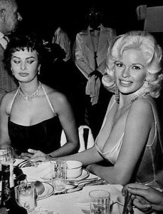 Famous photo of Sophia Loren and Jane Mansfield