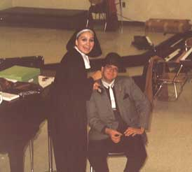 Me (Chris Pinto) as a gangster in a high school play, 1985 (Maria O'Callaghan is helping with makeup.