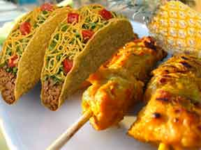 mmm, tacos and pineapple and chicken satay