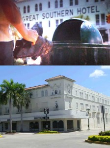 This scene in Midnight Cowboy was shot in Hollywood, FL in front of the Great Southern Hotel. This is a few blocks from where I work. Bottom images shows the Hotel as it sits today, closed.