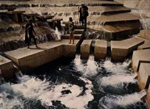 "The ""active pool"" of the Water Gardens located in Ft. Worth, Texas"