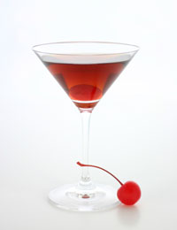 The Manhattan Cocktail. Old-style is served in a rocks glass.