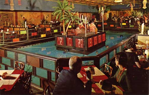 By the 1960s The Tonga Room was transformed into a full-fledge Tiki Bar complete with mid-pool bandstand, hurricane bar and a real tropical storm