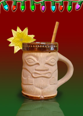 Eggnog in a Tiki Mug, with plenty of rum. mmmm.