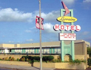 The original sign of the Lorraine Motel, now the Civil Rights Museum