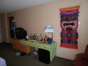We decorated our room and had a bar set up