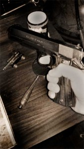 .45 Auto used by Detective Riggins in Murder Behind the Closet Door