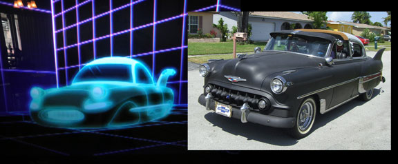The front-side view of the Futurama Car, and my 1953 Chevy. Tell me they didn't copy mine! I dare ya.