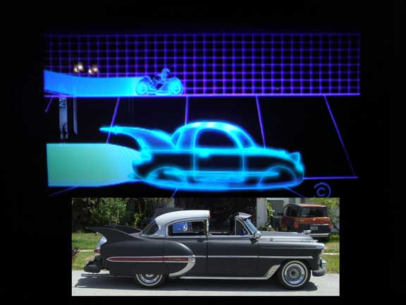 Futurama's hot rod on top, my CUSTOM 53 Chevy hot rod with fins I designed myself on the bottom.
