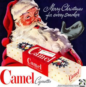 Don't forget to have a tasty Camel cigarette with your Eggnog! Santa approved!