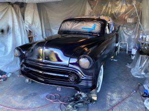 1953 Chevy Belair Custom hot rod being painted