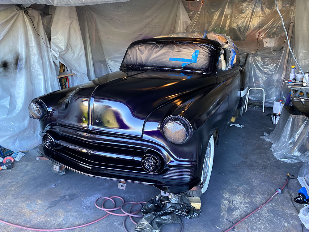 1953 Chevy Belair Custom hot rod being painted